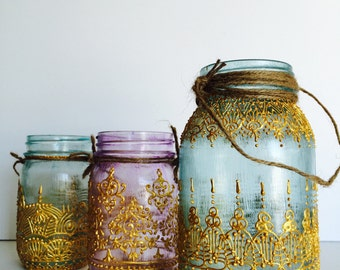 Growth and New Beginnings; 32oz. Hand Painted Henna Moroccan Mason Jar Lantern