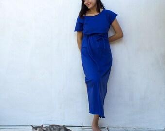 Blue Maxi Dress Bsic Maxi Dress 100% Organic Cotton women's clothing T shirt dress Free Shipping International