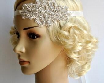 Crystal Headband,Rhinestone flapper Great Gatsby Headband, Wedding Bridal Headband Headpiece, Halo Bridal Headpiece, 1920s Flapper headband