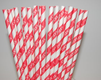 Red Cheers Paper Straws - 25/Pack