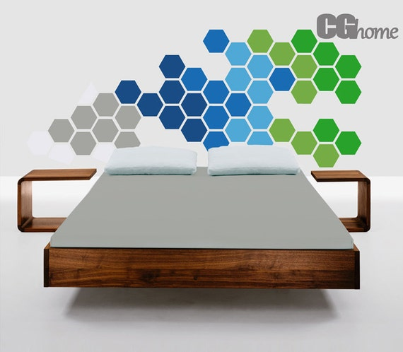 HEXAGON geometric honeycomb GREEN headboard blue grey wall decal MODERN vinyl at home