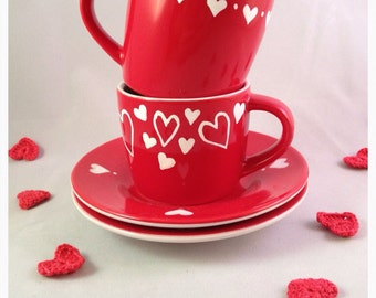 Two hearts valentines gift set - espresso cups or mugs (set of 2), UK seller, ready to ship