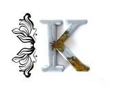 Decorative Letter K Wall Decor. Handmade Resin Letter, Silver Letter, Alphabet Letter, Wall Letter, Letter Monogram, Hanging Letter Art.