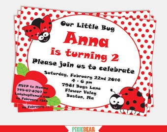 Ladybug Birthday Invitation - Ladybug Invitation - Ladybug Party Invitation - Ladybug Birthday - Lady Bug Invitation (Instant Download)
