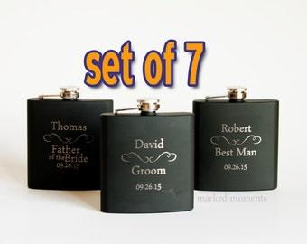 Engraved flasks, 7 Black Engraved Flasks 6oz for Groom, Best Man, Groomsmen, father of the bride, Hip Flask SET OF 7 - CLASSIC