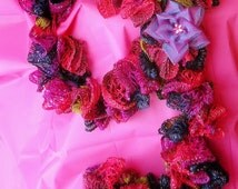 Crochet Ruffle Sashay Scarf Pink, Purple, Blue, and Gold, Handmade