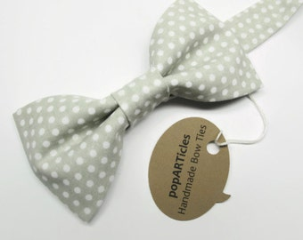 Gray Polka Dot Bow Tie - Grey Bow Tie - Cotton Bow Tie - Gray Bow Tie - Polka Dot Bow Tie
