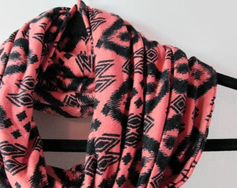 Coral and Black Ikat Infinity Scarf - Handmade Pink and Black Scarf - Ikat Infinity Scarf - Itak Scarf - Coral and Black Scarf - Coral Scarf