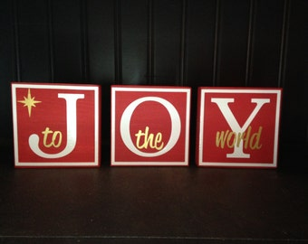 Joy to the world wood blocks- Christmas decor