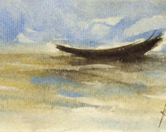 Boat Painting, Original Watercolor on Paper,, Sea painting, Boat painting, Small painting