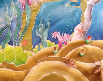 Under the Sea Painted Silk Play Mat, silk toy, Silk Play mat, waldorf inspired, mermaid play, play silk, travel toy, playsilk