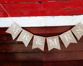 Mr & Mrs wedding bunting banner, wedding photo prop
