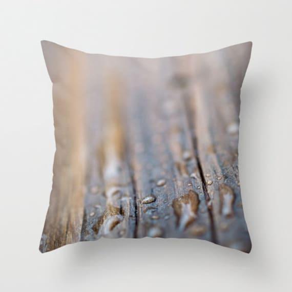 Rainy Dock Pillow Cover - Macro Photography Pillow - Macro Photo Throw Pillow - Brown Home Decor - Neutral Throw Pillow - Rain Photography