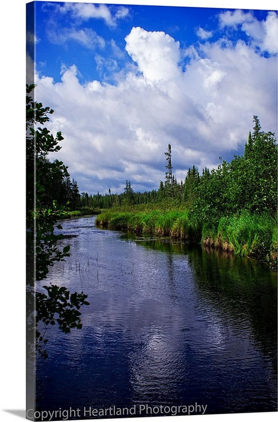 Boundary Waters, Canvas Wrap, Blue and Green, Nature Photography, Nature Landscape, Little Indian Sioux, BWCA Entry Point, Reflection