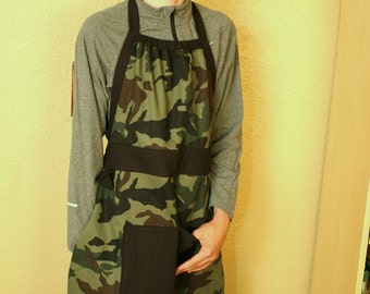 Boys apron, boys full apron, camo apron, camouflage apron, boy apron with pocket, durable apron, apron for boys