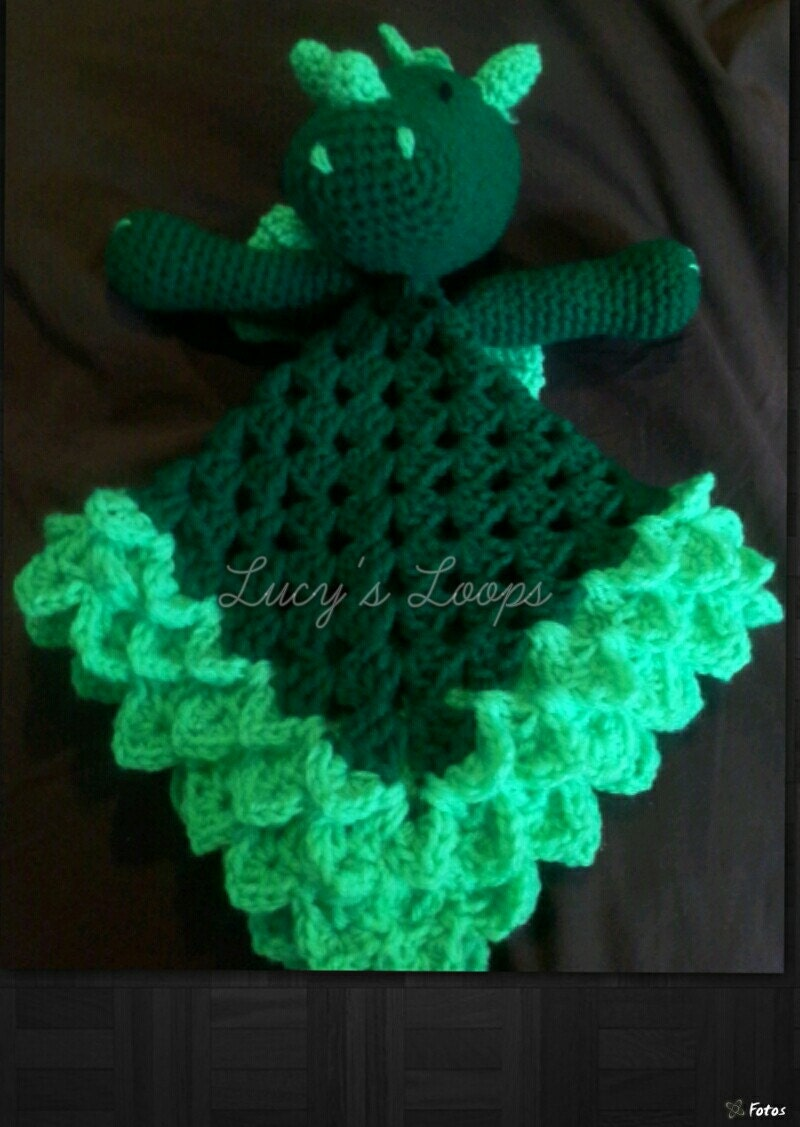 Dragon Lovey - Handmade Crochet Blanket Animal