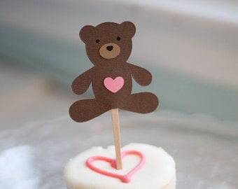 Teddy Bear Cupcake Toppers with Pink Hearts - Set of 12