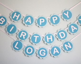 Custom Boy Birthday Party Banner - Blue