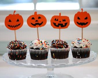 Halloween Jack O' Lantern Cupcake Toppers - set of 12