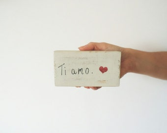 Wooden Blocks Shabby Chic with Ti Amo Writing and Heart