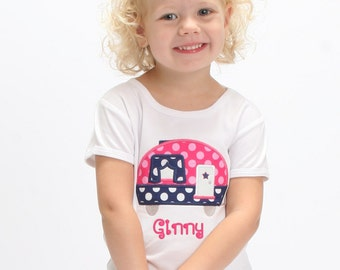 Girls Glamper Hot Pink & Navy Camper Shirt with Embroidered Name