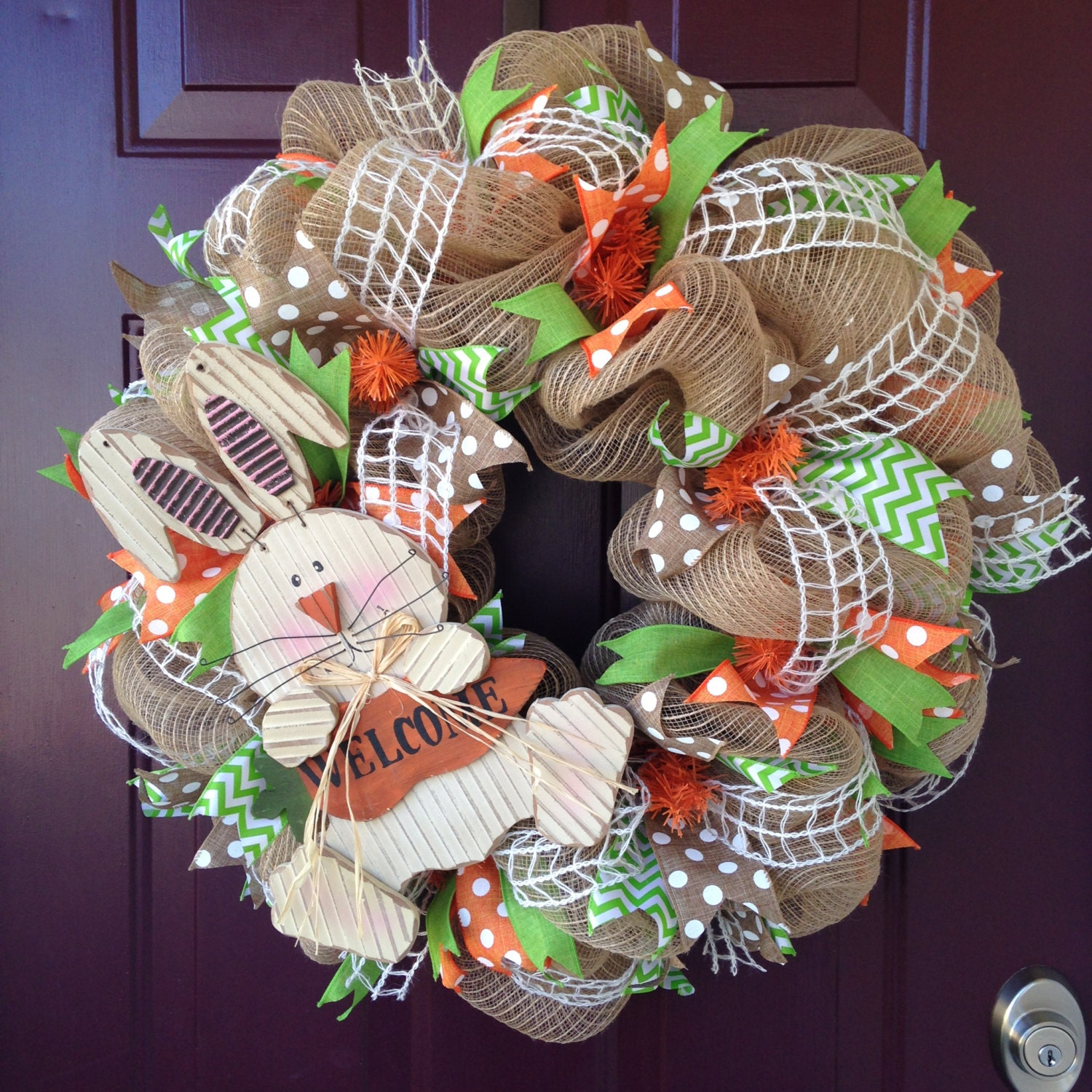 Burlap Bunny Easter Wreath With Green And Orange Accents