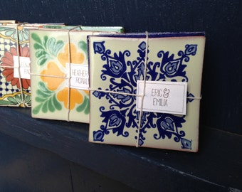 Set of 4 Spanish or Mexican Tile Coasters - grab bag
