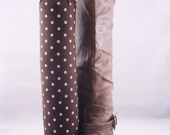 Pair of Boot Form Boot Trees - Knee High Brown with Pink Polka Dots with Cedar Fill