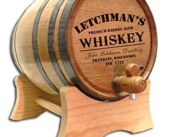 FREE SHIP! 1 Liter Personalized Barrel- Distillery Label Design- Personalized Whiskey Barrel- Personalized Barrels-Oak Keg-Custom Barrel