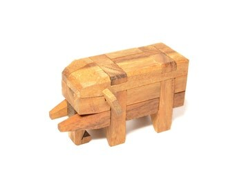 Elephant Puzzle Game, Elephant Wooden Game, Woodworking, 100% Handmade.