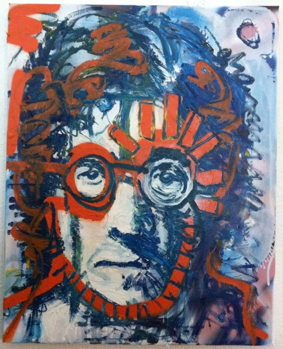 Modern Pop Art Painting 16x20 John Lennon Art The Beatles Art, New York City Art, Statue of Liberty, Canvas Painting, College Dorm Decor