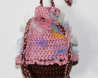 15% Off With Coupon Code SAVE15 Crochet Cupcake Purse, Crochet Cupcake Bag