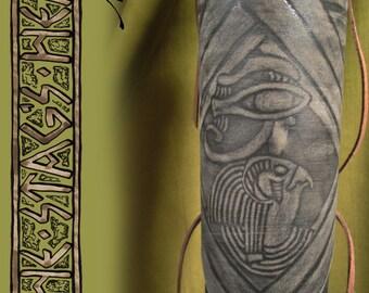 SALE Horus Armband: Embossed Leather, Kemet, Egyptian God Horus, Eye of Horus, Egyptian Mythology, Egyptian Deity, Falcon, Ancient Egypt