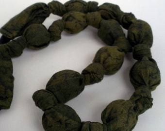 Green Fabric Necklace, Nursing Necklace, Statement Necklace, Teething Necklace