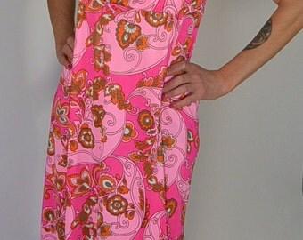 60s Hawaiian Maxi Dress