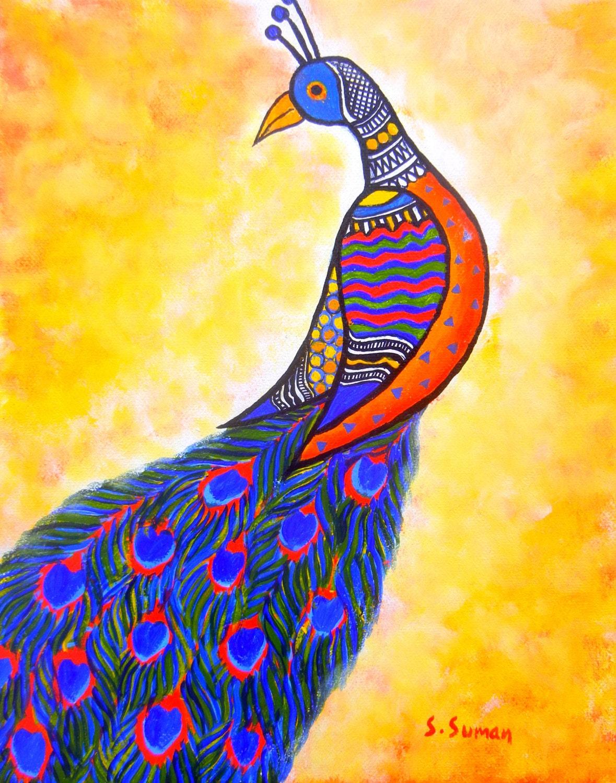 Peacock acrylic paintings - photo#54