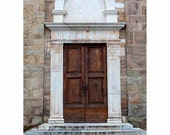 Brown Church Door in Tuscany, Italy Photography, Brown, Beige, Arch, Stone, Wood, Wall Art, Home Decor - Tuscan Brown Door (Vertical)