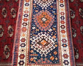 SALE Antique Kazak Caucasian tribal Rug scatter Magic Carpet Persian Turkish Moroccan Boho chic
