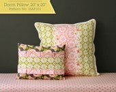 """Dorm Pillow pdf sewing pattern. Fits a 20""""x20"""" pillow insert. This decorative pillow is adorable and easy to make."""