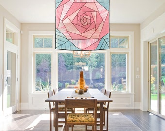 Rose pattern design - Space décor and sheer shade/ window covering. Korean fabric art, Jogakbo.