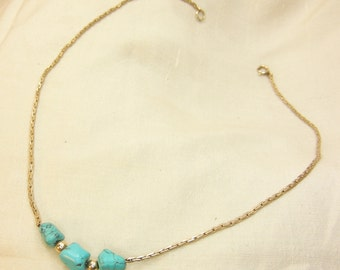 Turquoise Nuggets on a gold plated chain