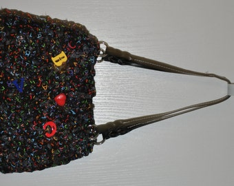Hand crochetd rag bag