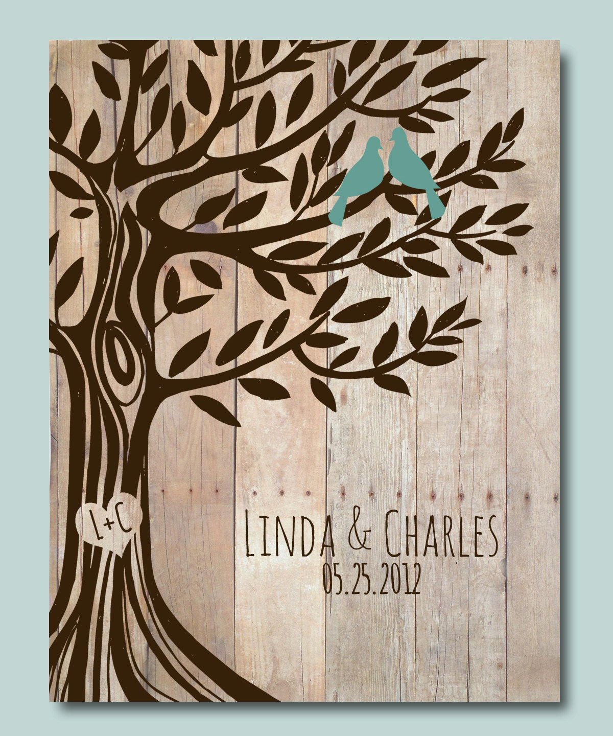 Personalized Wedding Gifts: Personalized Wedding Gift Love Birds Tree Engagement Gift