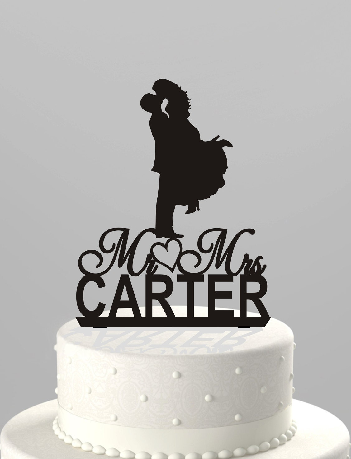 Wedding Cake Topper Silhouette Couple Mr & Mrs Personalized