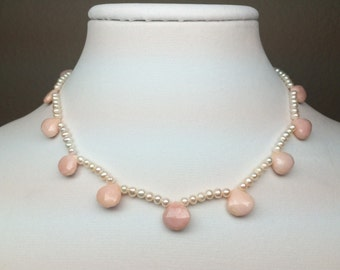 Pink Opal Briolette Pearl Sterling Silver Necklace