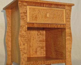 Solid wood curly maple nightstand (1 of 2)