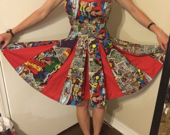 MARVEL Comic book PINUP Dress! 7red inset panels! CUSTOM to Your measurements Spiderman Wolverine Thor Ironman CaptAmerica Hulk SilverSurfer