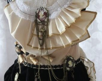 Victorian Steampunk Stretch Cotton & Lace Blouse Custom Size