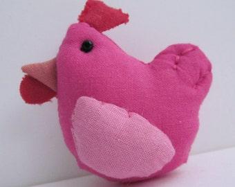 Bright Pink Hen Fabric Brooch Badge