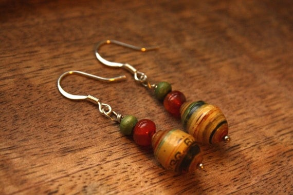 uganda earrings i recycled paper beads carnelian and wood